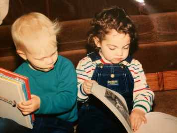 reading with her childhood partner-in-crime